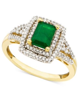 14k Gold Emerald-Cut Emerald (9/10 ct. t.w.) & Diamond Ring (1/3 ct. t.w.)