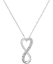 "Diamond Infinity Heart 18"" Pendant Necklace in Sterling Silver (1/10 ct. t.w.)"