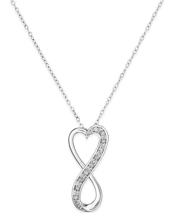 "Macy's Diamond Infinity Heart 18"" Pendant Necklace in Sterling Silver (1/10 ct. t.w.)"