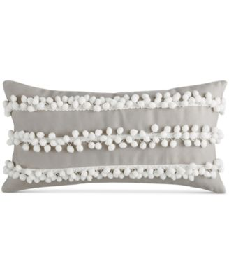 "Bar III Pom Pom Stripe 10"" x 20"" Decorative Pillow"