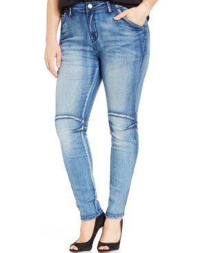 City Chic Plus Size Seamed Skinny Jeans, Light Denim Wash