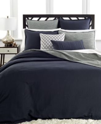 Hotel Collection Linen Navy Full/Queen Duvet Cover