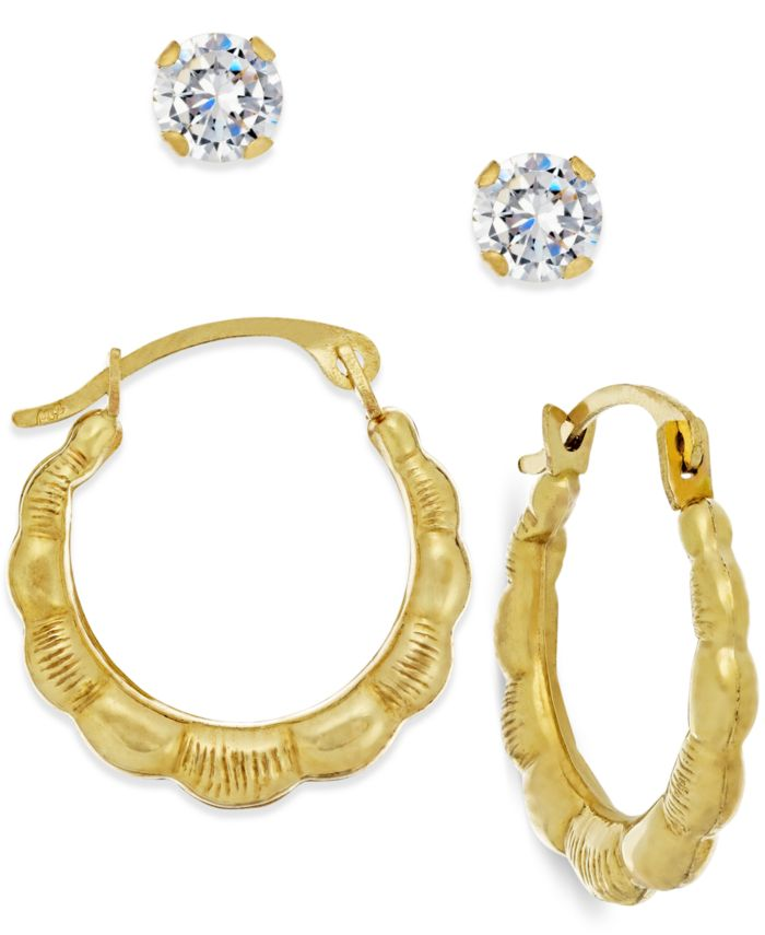 Macy's Cubic Zirconia and Ribbed Hoop Earring Set in 10k Gold & Reviews - Earrings - Jewelry & Watches - Macy's