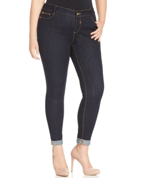 Rocks & Indigo Plus Size Cropped Skinny Jeans, Clean Rinse