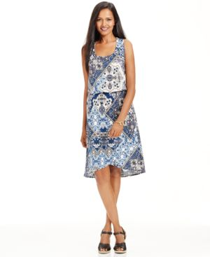 Style & Co. Petite Printed Tulip-Hem Dress