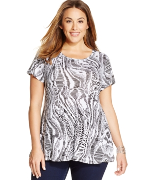 Style & co. Plus Size Printed Swing Tee