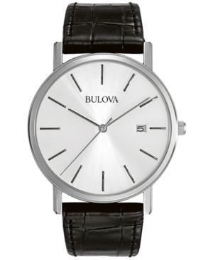 Bulova Men's Black Croc Embossed Leather Strap Watch 37mm 96B104