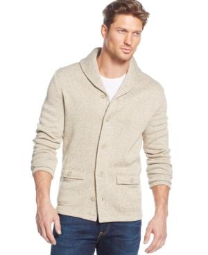 Club Room Shawl Fleece Sweater $34.39 AT vintagedancer.com
