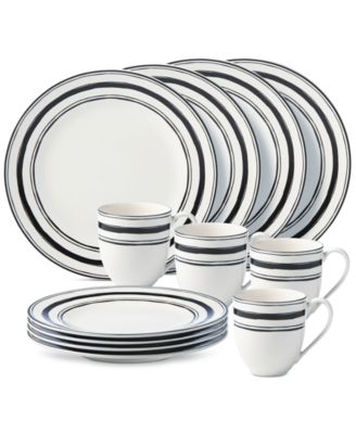 Lenox Around The Table Collection Stripe 12 Piece Place Setting, Service for 4