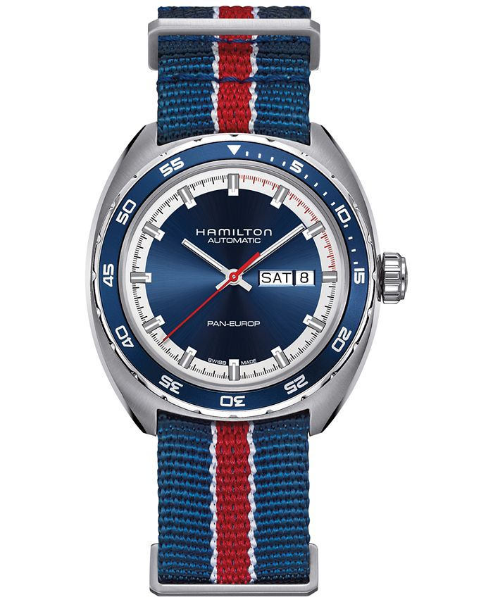 Hamilton - Men's Swiss Automatic Pan Europ Interchangeable Fabric and Leather Strap Watch Set 42mm H35405741