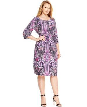 Inc International Concepts Plus Size Printed Peasant Dress, Only at Macy's
