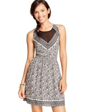 American Rag Printed Illusion Dress, Only at Macy's