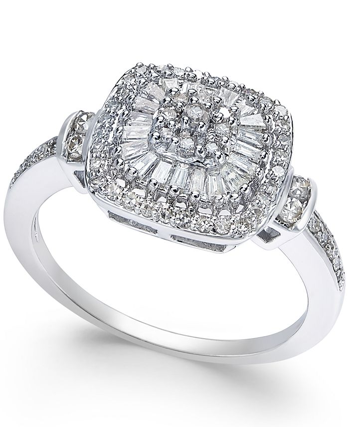 Macy's - Diamond Vintage-Inspired Ring (1/2 ct. t.w.) in 14k White Gold, Yellow Gold and Rose Gold.