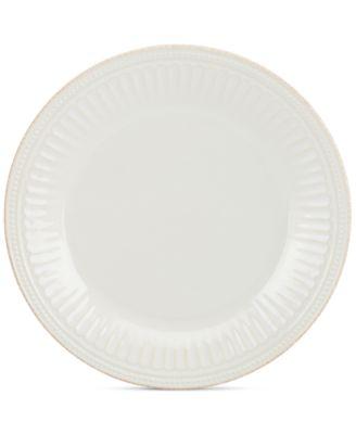 Dinnerware Stoneware French Perle Groove White Dinner Plate