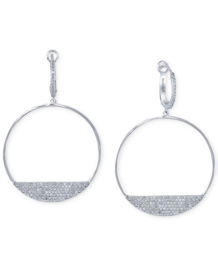 EFFY Collection - Diamond Drop Hoop Earrings (3/4 ct. t.w.) in 14k White Gold