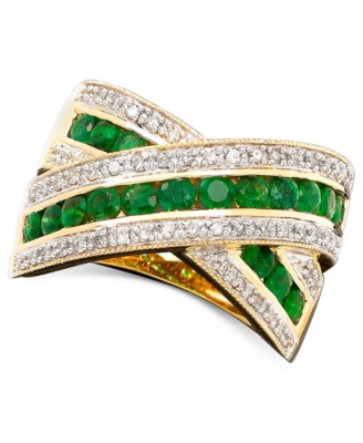 14k Gold Emerald (3/4 ct. t.w.) & Diamond (1/4 ct. t.w.) B& Ring