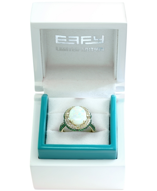 Effy Limited Edition Opal (2-5/8 ct. t.w.), Diamond (3/8 ct. t.w.) and Tsavorite (1/2 ct. t.w.) Ring in 14k Gold
