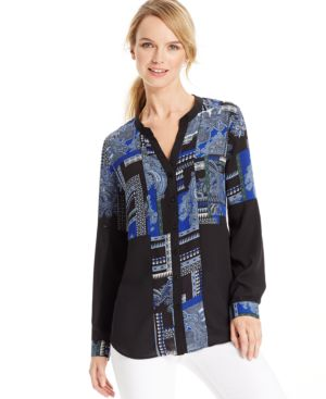 Ny Collection Mixed-Print Tunic Blouse