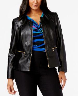Calvin Klein Plus Size Faux-Leather Zip-Front Jacket