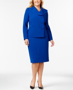 Tahari Asl Plus Size Asymmetrical-Three-Button Jacket Skirt Suit