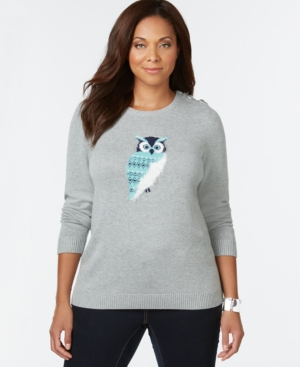 Charter Club Plus Size Owl-Graphic Sweater, Only at Macy's