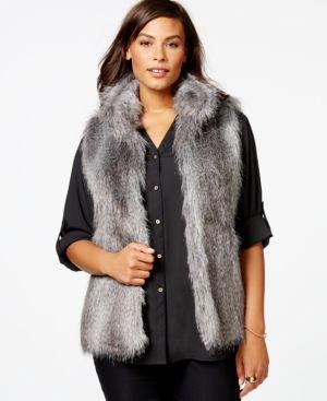 Calvin Klein Plus Size Faux-Fur Vest