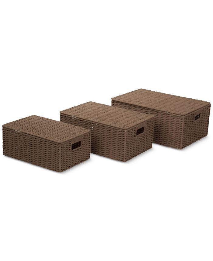 Honey Can Do - 3-Pc. Brown Paper Rope Basket Set