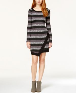 Trixxi Juniors' Striped Asymmetrical-Hem Sweater Dress