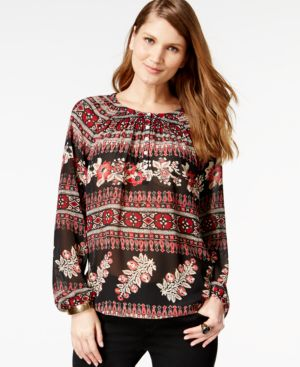 American Living Printed Peasant Blouse, Only at Macy's