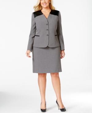 Tahari Asl Plus Size Faux-Leather Trim Skirt Suit