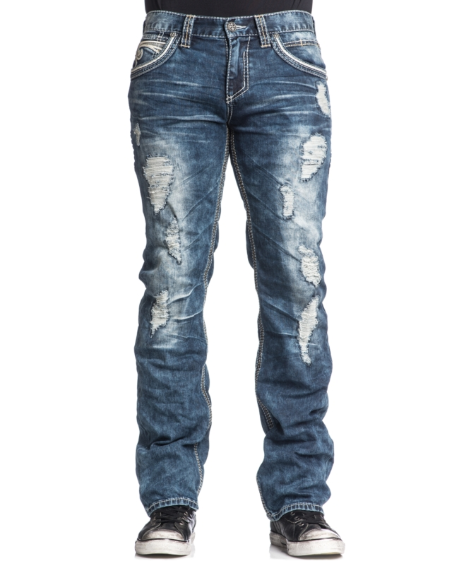 Affliction Men's Blake Fleur De Lis Relaxed Fit Ripped Jeans Bayside Wash | Pants, Clothing and Workwear