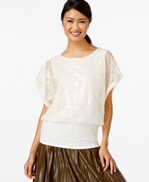 Joseph A Sequined Dolman-Sleeve Top