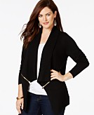 INC International Concepts Plus Size Drape-Front Zip-Trim Cardigan Only at Macys