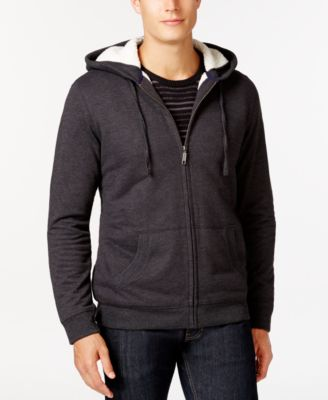 Image of Club Room Sherpa-Lined Fleece Hoodie, Only at Macy's