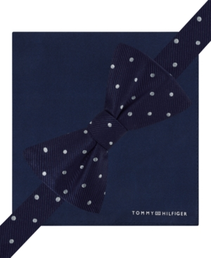 Tommy Hilfiger Big Dot To-Tie Bow Tie and Solid Pocket Square Set $21.99 AT vintagedancer.com
