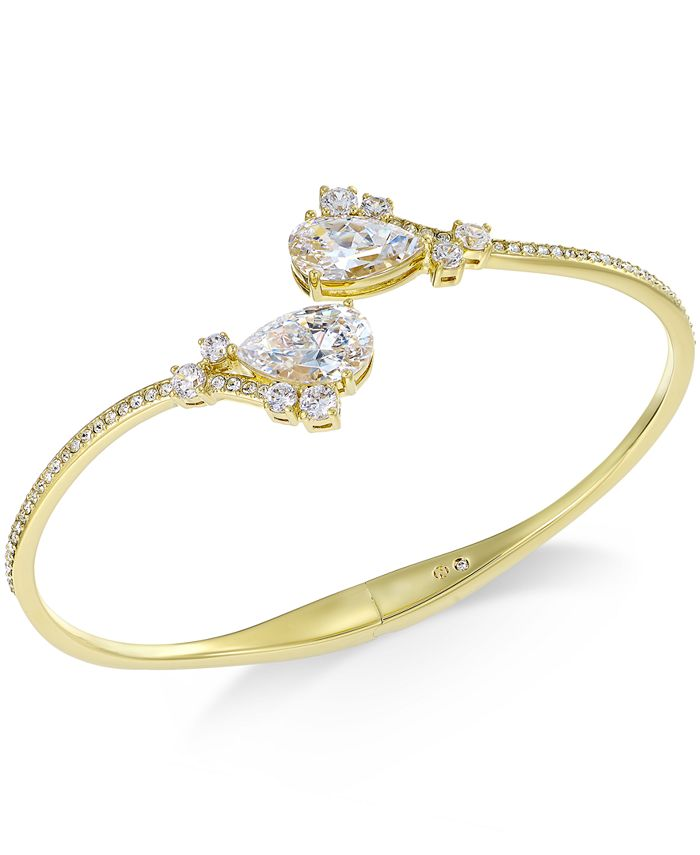 Eliot Danori - Gold-Tone Pear Shape Cubic Zirconia Hinge Bracelet