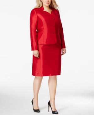 Le Suit Plus Size Three-Button Shantung Skirt Suit