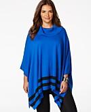 Calvin Klein Plus Size Striped Poncho Sweater