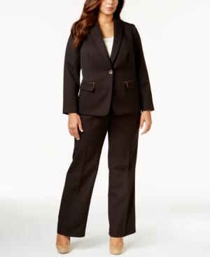 Tahari Asl Plus Size One-Button Pinstripe Pantsuit