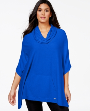 Calvin Klein Plus Size Cowl-Neck Poncho Sweater