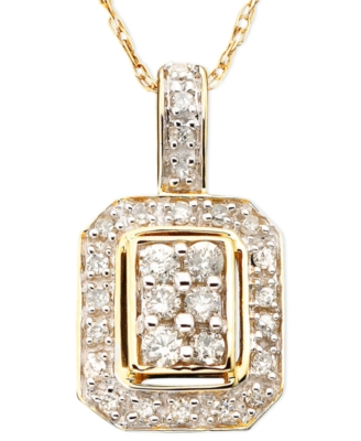 14k Gold Diamond Square Pendant (1/4 ct. t.w.)