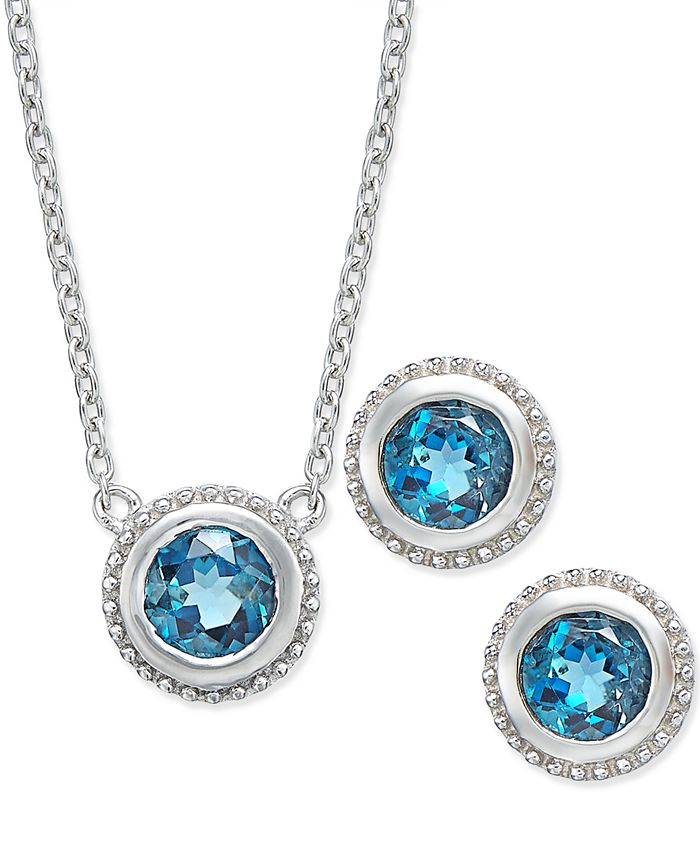 Macy's - London Blue Topaz Pendant Necklace and Earrings Set (2 ct. t.w.) in Sterling Silver