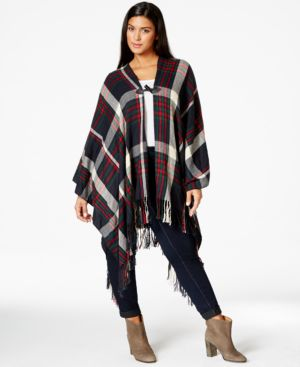 Love Squared Plus Size Printed Fringe Poncho
