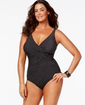 Miraclesuit Plus Size Tummy-Control Dot-Print One-Piece Swimsuit Women's Swimsuit