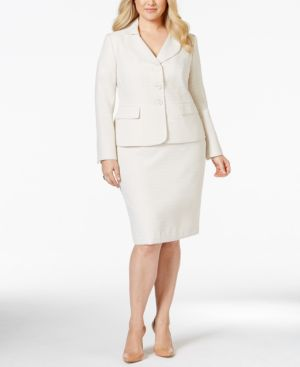 Le Suit Plus Size Texured Petal-Collar Skirt Suit