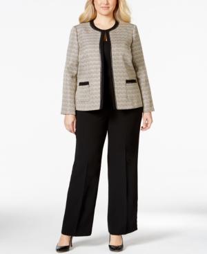 Tahari Asl Plus Size Boucle Chain-Trim Pantsuit