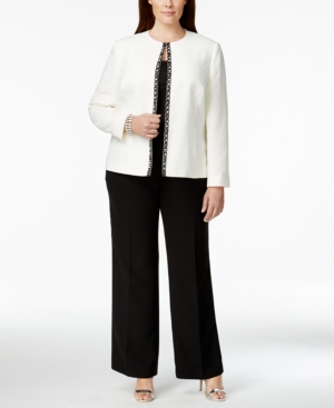 Tahari Asl Plus Size Colorblocked Beaded Pantsuit