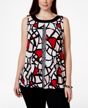 Alfani Plus Size Faux-Leather-Trim Printed Top, Only at Macy's