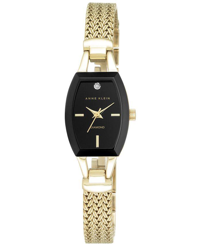 Anne Klein - Women's Black Gold-Tone Mesh Bracelet Watch 19mm AK/2184BKGB