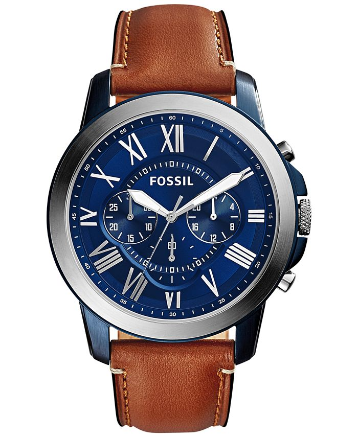Fossil - Men's Chronograph Grant Light Brown Leather Strap Watch 44mm fs5151